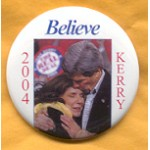 Kerry 8A  - 2004 Believe Kerry Campaign Button