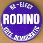 NJ 21M - Re-Elect Rodino Vote Democratic Campaign Button