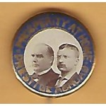 McKinley 10M - Prosperity At Home Prestige Abroad (McKinley Roosevelt) Campaign Button