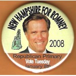 Romney 11D - New Hampshire For Romney 2008 Republican Primary Vote Tuesday January 8th Campaign Button