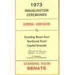 Nixon 72D - 1973 Inauguration (Nixon) Ceremonies General Admission Standing Room Senate Ticket