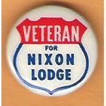 Nixon 97D - Veteran For  Nixon And Lodge Campaign Button