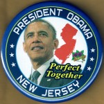 Obama 18F - President Obama New Jersey Perfect Together Campaign Button