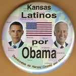 Obama 2D - Kansas Latinos por Obama Democratas de Harvey County por Obama Campaign Button