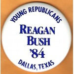 Reagan 34N - Young Republicans Reagan Bush '84 Dallas , Texas Campaign Button