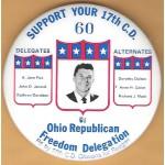 Reagan 77D - Ohio Republican Freedom Delegation Ohioans for Reagan  Campaign Button