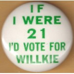 Willkie 1N - If I Were 21 I'd Vote For Willkie Campaign Button